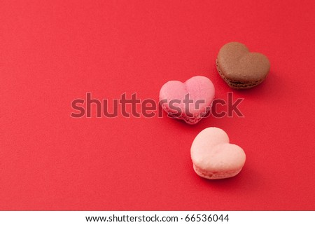 heart shaped mararons - stock photo