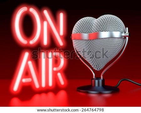 """Heart shaped microphones on reflecting, red surface in front of, lateral  to neon sign, letters """"On Air"""", 3d rendering - stock photo"""
