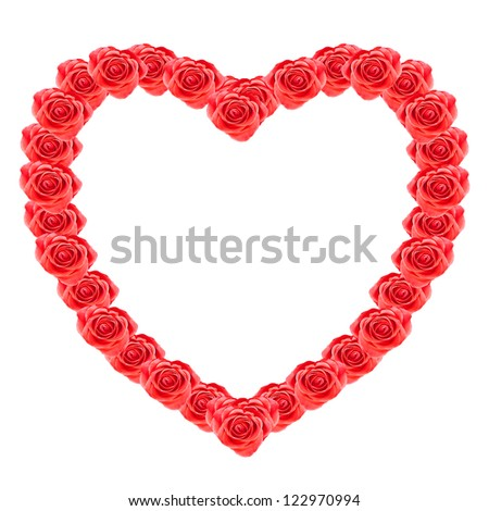 Heart shaped of red roses isolated over white background - stock photo