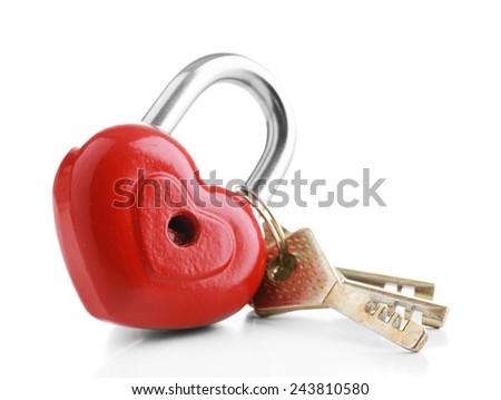 Heart-shaped padlock with key isolated on white - stock photo