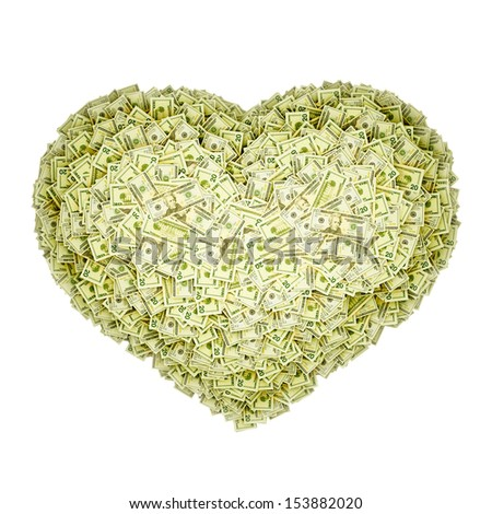 Heart-shaped pile of money. Isolated on white. - stock photo