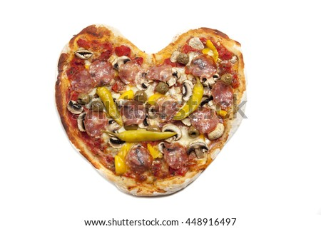 heart shaped pizza from above