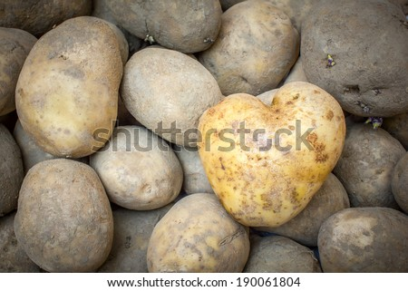 Heart Shaped Potato background - stock photo