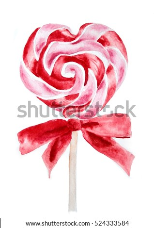 Heart shaped red pink candy lollipop on a stick watercolor illustration, art print