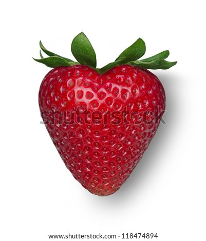 Heart shaped red strawberry - stock photo