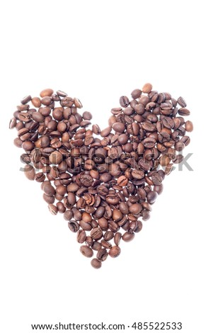 Heart shaped roasted coffee beans isolated on white background. Vertical photo
