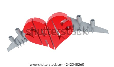 Heart Shaped Sale Sign with Airplane Wings - stock photo
