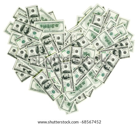 Heart shaped sign made with many 100 dollar banknotes isolated on white - stock photo