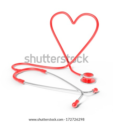 Heart shaped stethoscope- cardiology concept