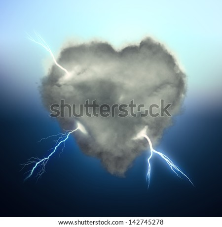 Heart shaped storm cloud illustration