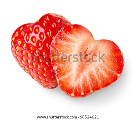 Heart-shaped strawberries isolated on white - stock photo