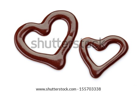 heart shaped sweet chocolate sauce isolated on a white background - stock photo