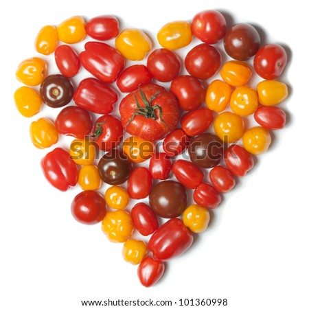 Heart shaped tomatoes - stock photo