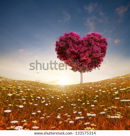 Heart shaped Tree red foliage, valentines day background - stock photo