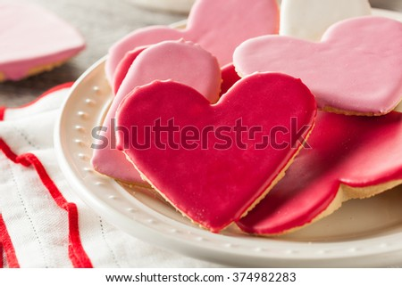 Heart Shaped Valentine's Day Sugar Cookies Ready to Eat