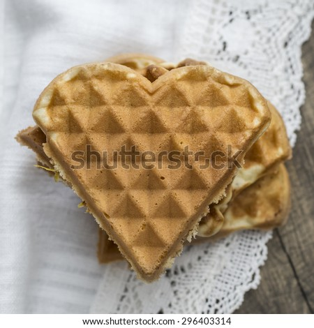 heart shaped waffles on table,from above - stock photo