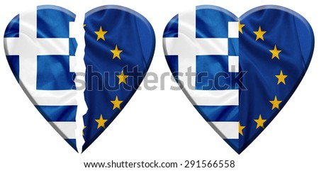 Heart shapes covered with Greece and E.U flags on silk texture