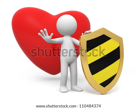 heart/shield/love/A people standing in front of a heart with a shield