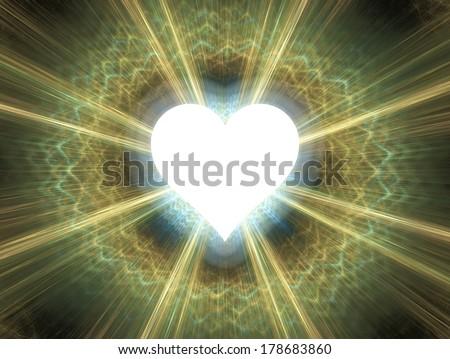 Heart shinning in light.  - stock photo