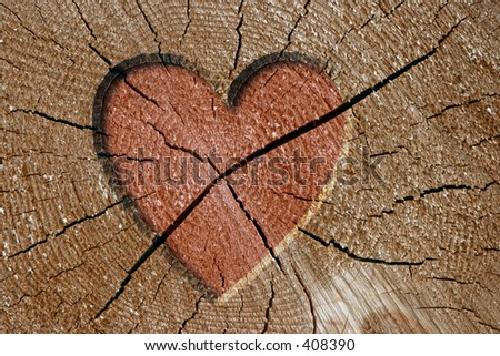 Heart sign on wood