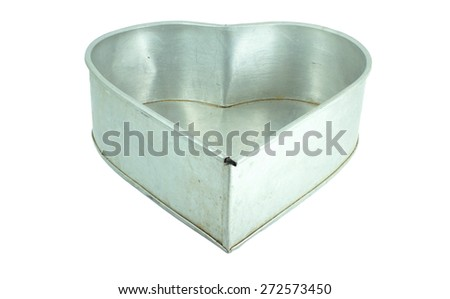 heart silver box isolated on a white background - stock photo