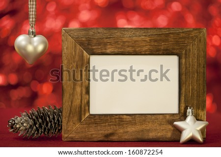 heart star pine cone christmas card on red background
