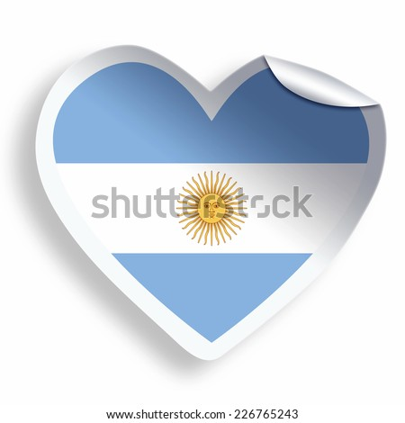 Heart sticker with flag of argentina isolated on white