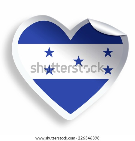 Heart sticker with flag of Honduras isolated on white - stock photo