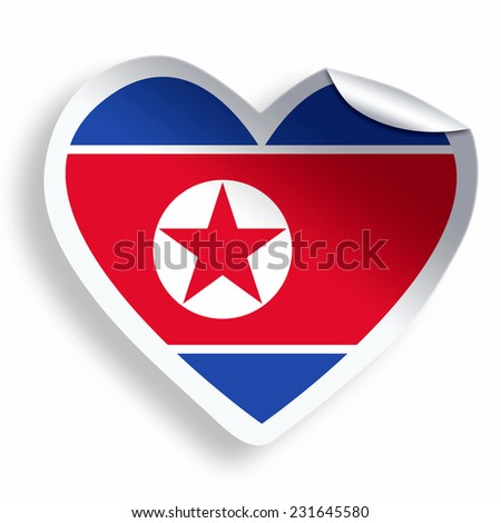 Heart sticker with flag of north korea isolated on white