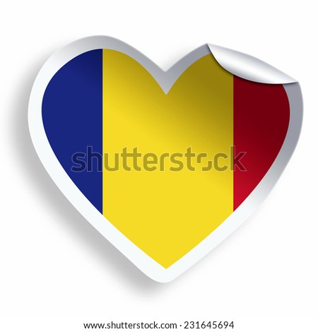 Heart sticker with flag of Romania isolated on white - stock photo