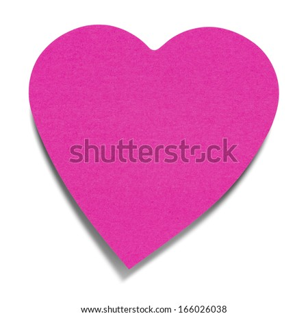 Heart Sticky Label, isolated on white background, with shadow - stock photo