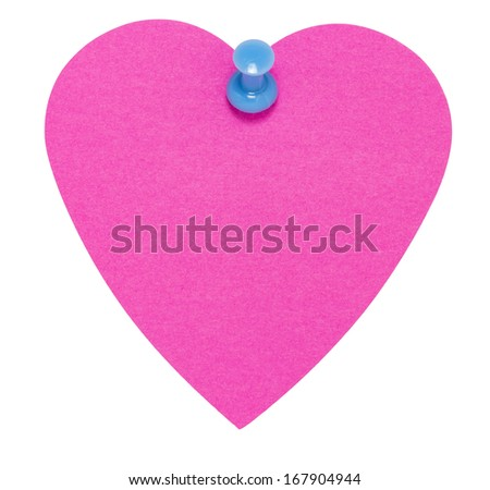 Heart Sticky Label, with blue pin, isolated on white background - stock photo