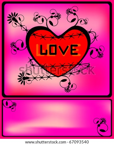 Heart surrounded with a barbed wire and the vintage flower pattern. A raster variant. - stock photo