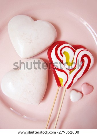 heart sweets, valentine heart, lollipop - stock photo
