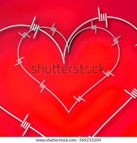 Heart symbol made from barbed wire. Red background - stock photo