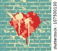 Heart symbol on brick wall. Raster version. - stock