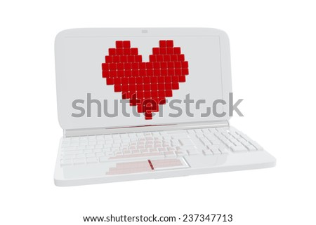 Heart Symbol On Laptop Display Stock Illustration 237347713