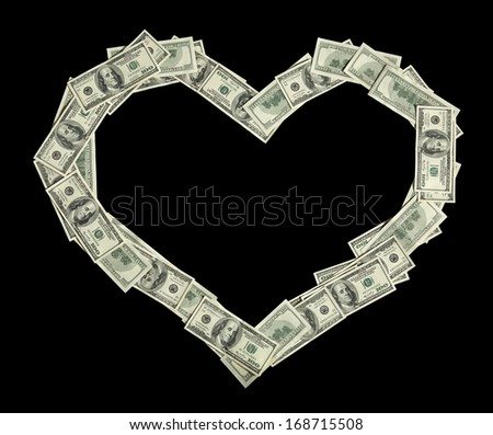 Heart symbol / studio photography of american moneys of hundred dollar on black background  - stock photo