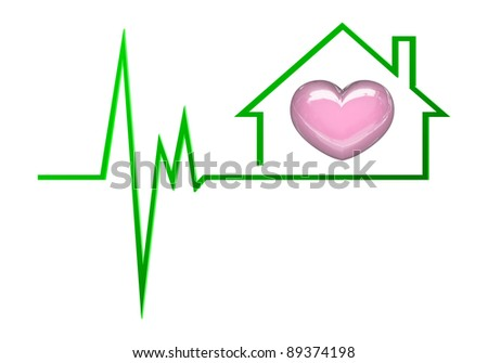 Heart Symbolizes Love Family Home Stock Illustration 89374198