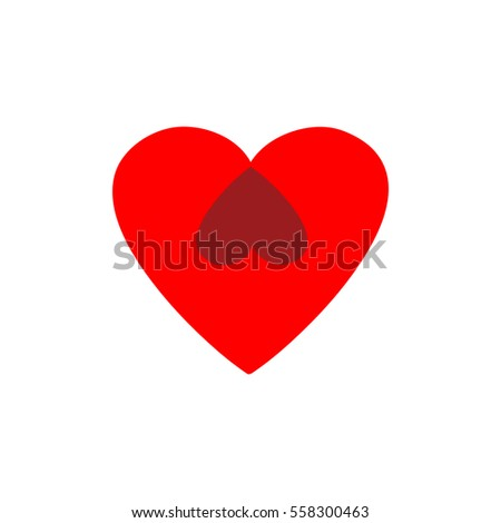 Heart two isolated. Red sign on white background. Romantic silhouette symbol linked, join, love, passion and wedding. Colorful mark of valentine and women day. Design element. illustration
