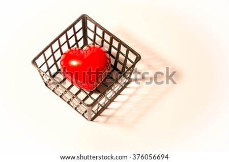 Heart valentine box on a white background - stock photo