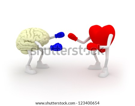 Heart vs Mind. Fighting. - stock photo