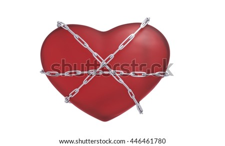 heart with a chain 3d illustration - stock photo