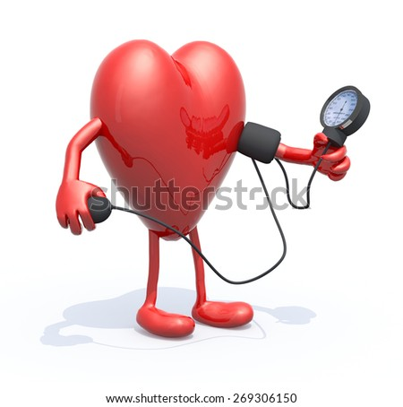 heart with arms and legs measuring blood pressure, isolated 3d illustration