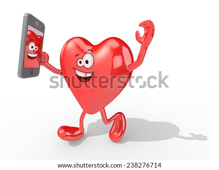 heart with arms and legs take a self portrait with her smart phone, 3d illustration - stock photo