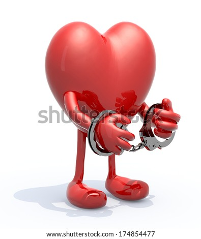 heart with arms, legs and handcuffs on hands, 3d illustration