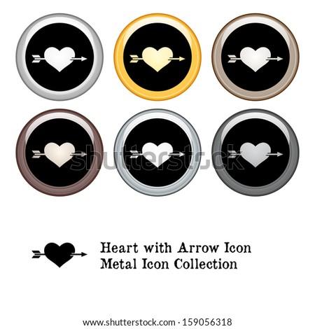 Heart with Arrow Icon Metal Icon Set. Raster version. - stock photo