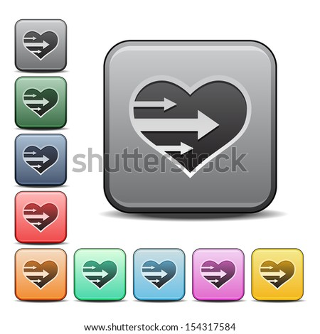Heart with Arrows Icon Square Icon in Various Colors.  Raster version. - stock photo