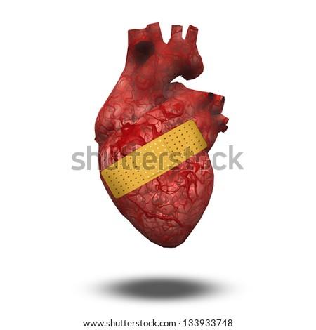 Heart with bandage - stock photo