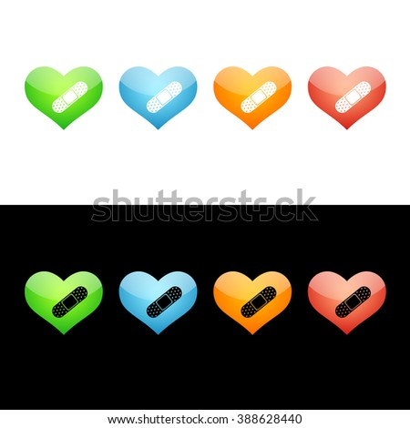 Heart with Bandage Icon in Four Glass Icon Colors. Raster Version. - stock photo